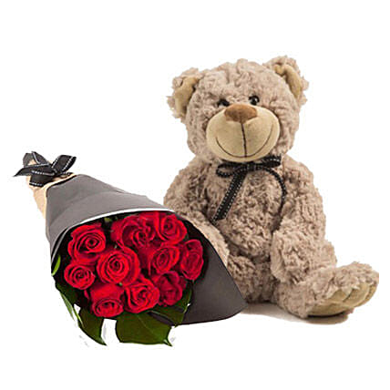 Lovely Red Roses With Brown Teddy: Send Flowers to Australia