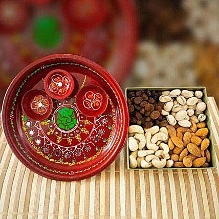 Painted Pooja Thali With Mix Dry Fruits: Send Diwali Gifts to Australia