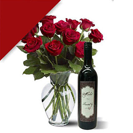 12 Roses N Wine Combo: Birthday Flower Delivery in Australia