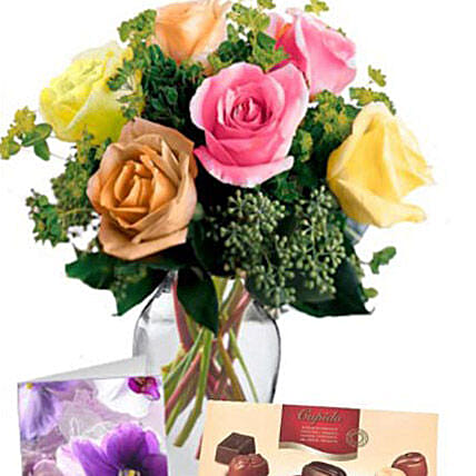 6 Mixed Roses Combo: Rose Delivery in Australia