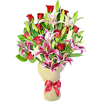 Grace Bouquet Of 12 Red Roses And 8 Lilies: Send Gift to Canada Same Day Delivery