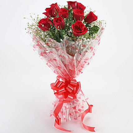 10 Red Roses Exotic Bouquet: Love N Romance Gifts