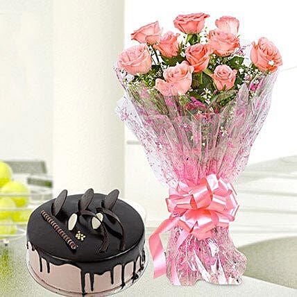 10 Pink Roses And Chocolate Cake Combo: Cake Combos