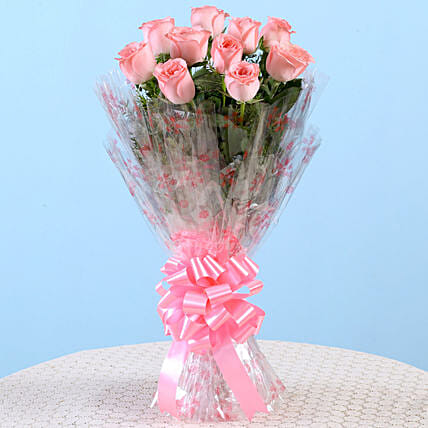 10 Charming Pink Roses Bouquet: Grand Parents Day Gifts