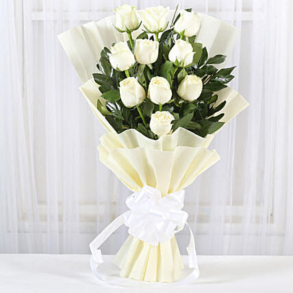 Pristine White Roses Bunch: White Flowers