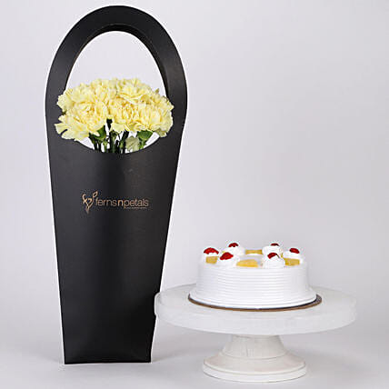 10 Yellow Carnations & Pineapple Cake Combo: