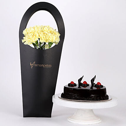 10 Yellow Carnations & Truffle Cake Combo: