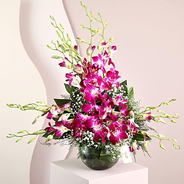 Purple Orchids Vase Arrangement: Vase Arrangements