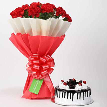 12 Red Carnations & Black Forest Cake Combo: Carnations