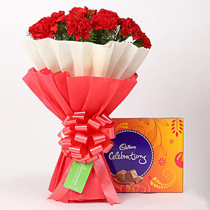 12 Red Carnations Bouquet & Cadbury Celebrations Box: Fathers Day Flowers & Chocolates