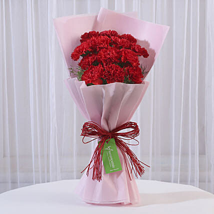 12 Red Carnations Bouquet in Pink Paper: Red Flowers