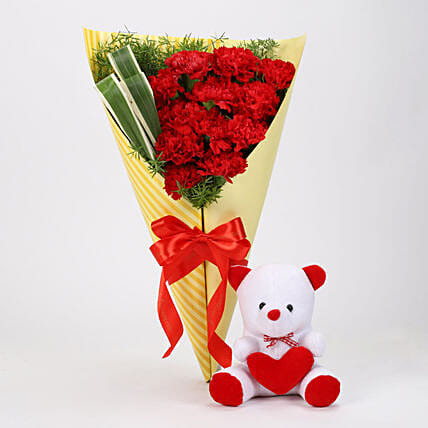 12 Red Carnations & Teddy Bear Combo: Valentine Flowers & Teddy Bears