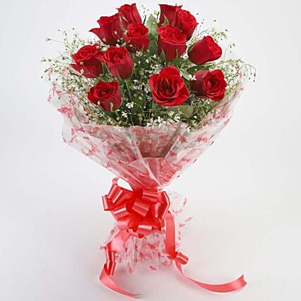 12 Velvety Red Roses Bouquet: Gifts for Promise Day