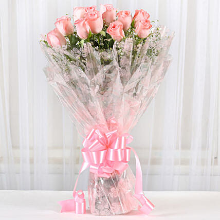 12 Splendid Pink Roses Bouquet: Send Flower Bouquets