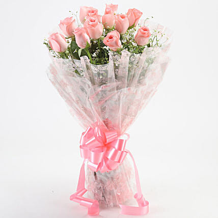 12 Splendid Pink Roses Bouquet: Gift Ideas