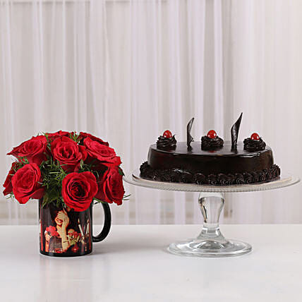 15 Red Roses Picture Mug & Truffle Cake:
