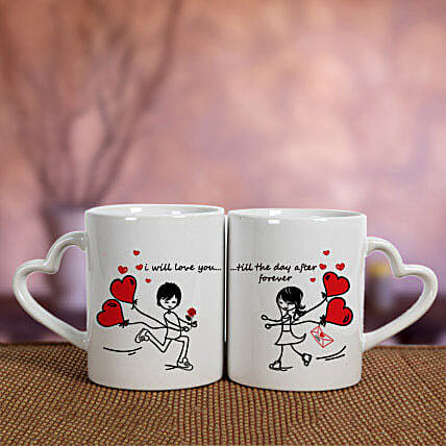 2 Ceramic White Mugs: Gift Delivery in Gadchiroli
