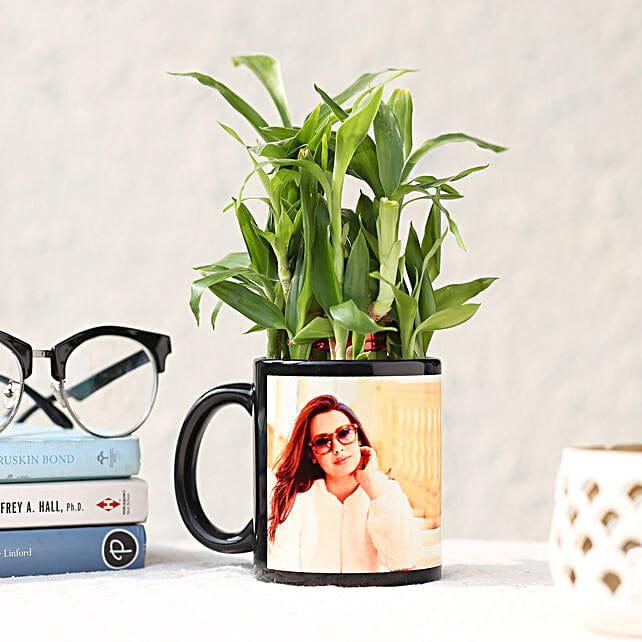 2 Layer Bamboo in Personalised Black Ceramic Mug: