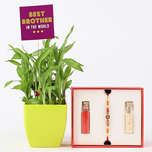 2 Layer Bamboo With Beaded Rakhi: Raksha Bandhan Combo Gifts