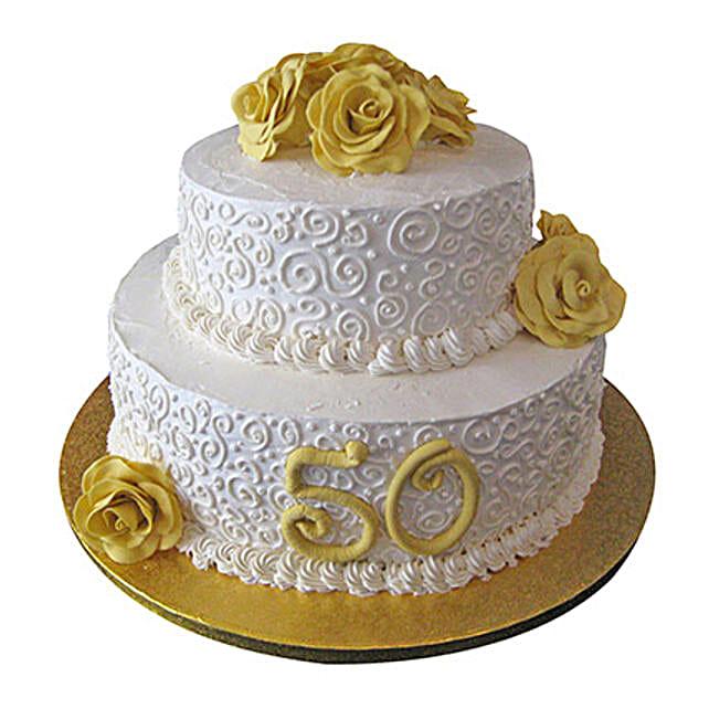 2 Tier Anniversary Fondant Cake: Designer Cakes for Wedding