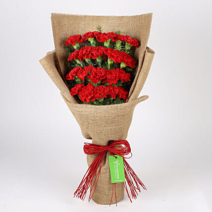 20 Layered Red Carnations- Jute Wrapped: Red Flowers