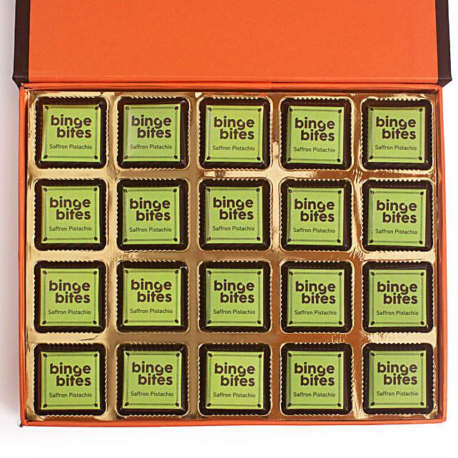20 Pcs Saffron Pistachio White Chocolate Box: Chocolates Shopping India