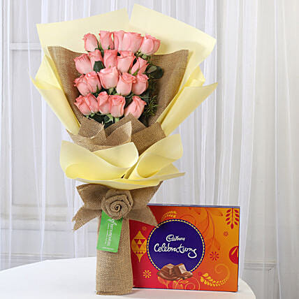 20 Pink Roses & Cadbury Celebrations Box: Chocolate Combos For Mothers Day