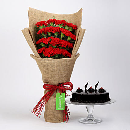 20 Red Carnations & Truffle Cake: Flowers & Cake Combos