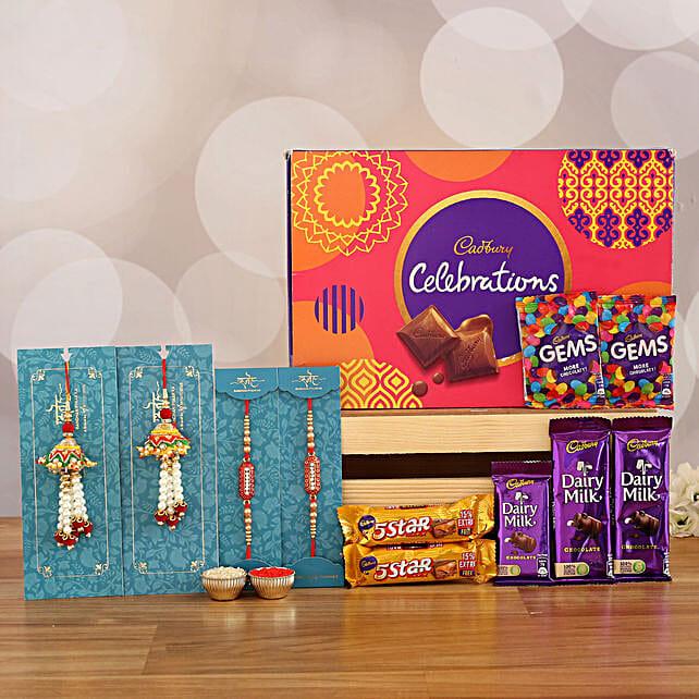 4 Rakhis & Celebrations Chocolate Box: Set of 4 Rakhi