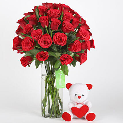 50 Red Roses & Teddy Combo: Flowers for Valentines Day
