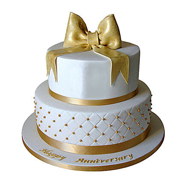 50th Anniversary Fondant 2 Tier Cake: Send Designer Cakes