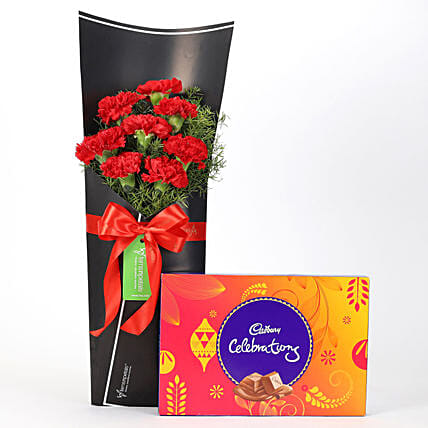 8 Red Carnations Bouquet & Celebrations Box: