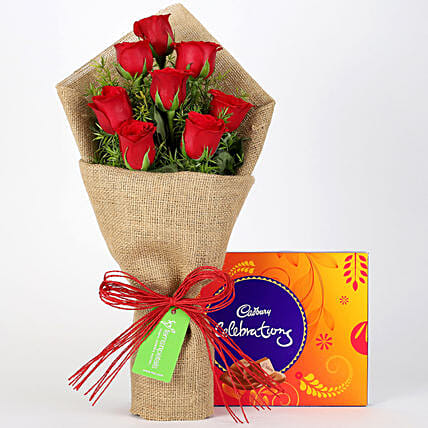 8 Red Roses Bouquet & Cadbury Celebrations: Cadbury Chocolates