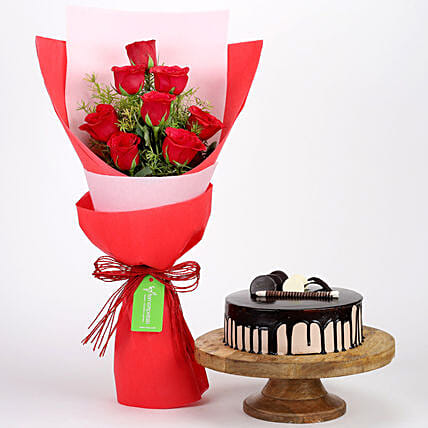 8 Red Roses with Choco Cream Cake Combo: Flower Bouquet with Cake