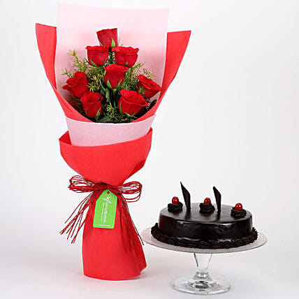 8 Red Roses with Truffle Cake Combo: Flowers & Cake Combos