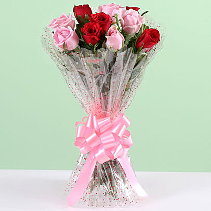 Appealing 10 Red & Pink Roses Bunch: