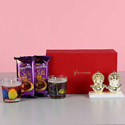 Aroma Candles & Gold Plated Ganesha Idol: