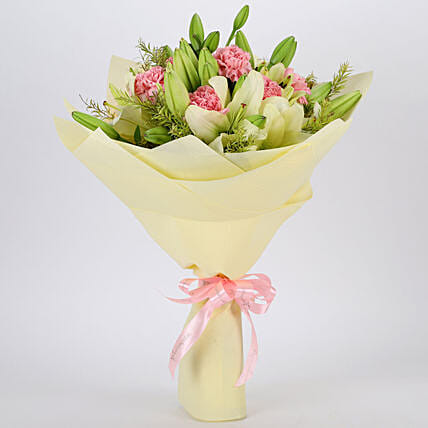 Asiatic Lilies & Carnations Mixed Bouquet: Gifts to India