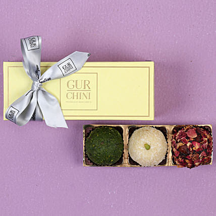 Assorted Laddu In Pastel Green Mithai Box: Sweets Delivery