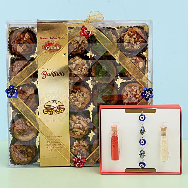 Assorted Turkish Baklava & Evil Eye Rakhi: Rakhi / Raksha Bandhan Gifts