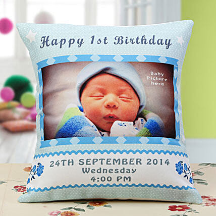 Baby Announcement Personalized Cushion: Personalised Gifts Shimoga
