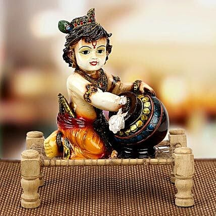 Bal Krishna With Matki on Charpai: Handicrafts