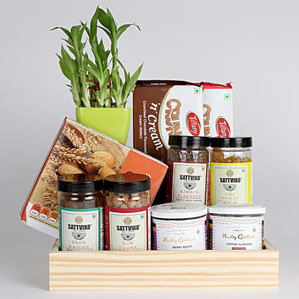 Bamboo Plant with Healthy Snacks Hamper: Gift Combos