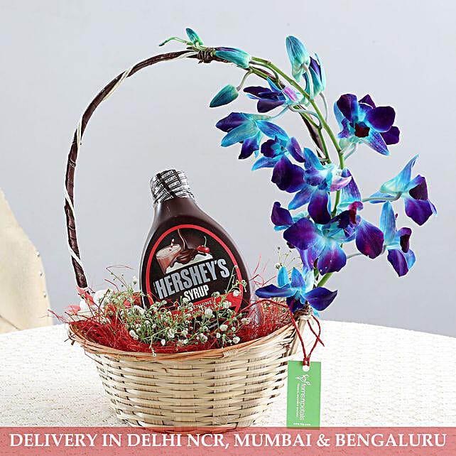 Basket Of Flowers & Chocolate Syrup: Flower Basket