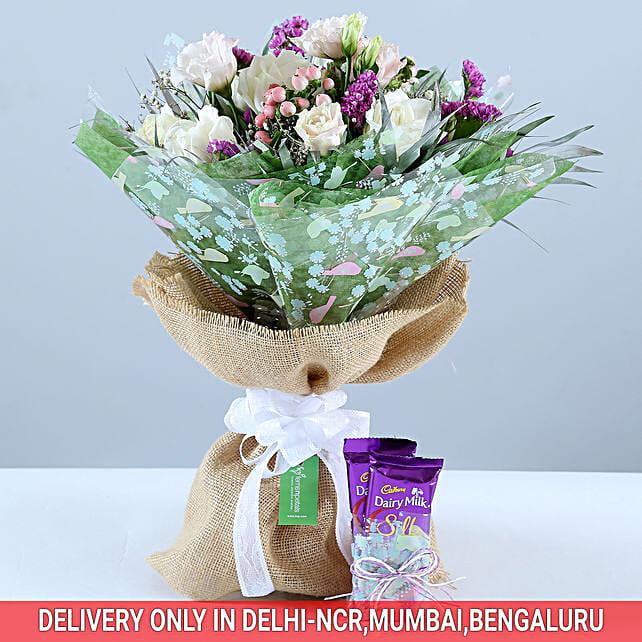 Beautiful Bouquet & Dairy Milk Combo: