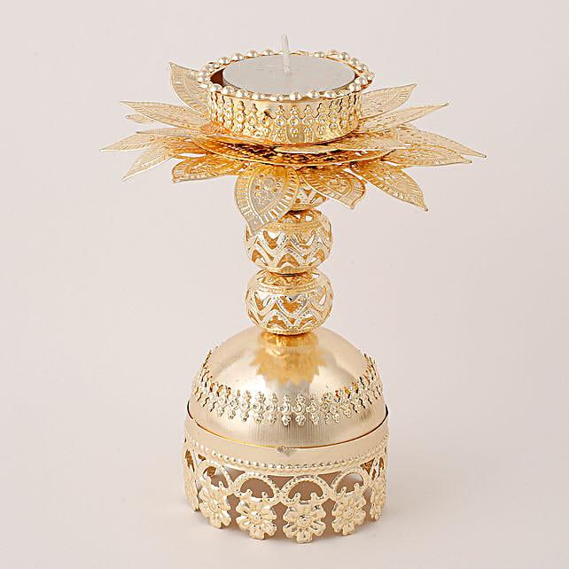 Beautiful Golden T Light Holder: Diwali Unique Gifts
