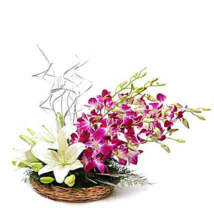 Lilies And Orchids Basket Arrangement: Orchids