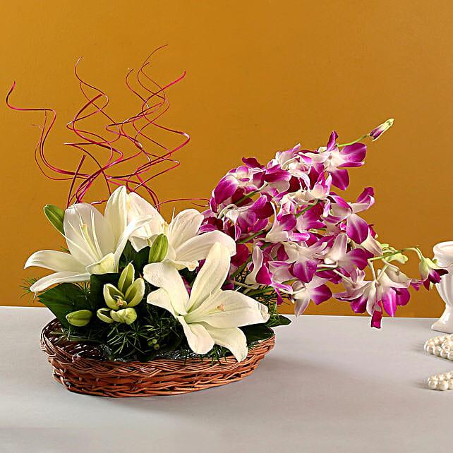 Lilies And Orchids Basket Arrangement: Lilies