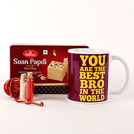 Best Bro Mug & Soan Papdi Combo: Send Bhai Dooj Gift Hampers