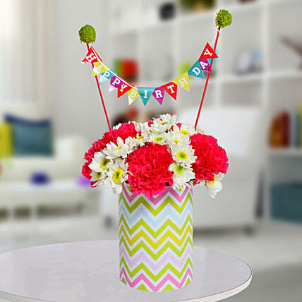 Special Birthday Vase Arrangement: Gifts to India
